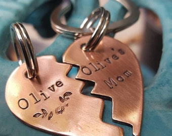 Fur baby and mom set,  Pet id tag,  Fur baby and dad set,  Fur parent set, cat tag, dog tag, Fur parent gift, Pet gift, heart keychains