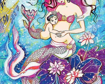 Mermaid mother painting mermaid art mother and son art mermaid print pregnancy art print 8x12+