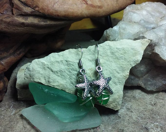 Sea Glass Earrings - Lake Michigan Beach Glass Earrings - Beach Glass Jewelry Wire Wrapped Earrings Tiny Earrings - South Shore Beach Glass