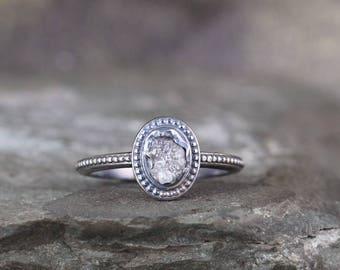 Uncut Diamond Ring - Raw Rough Diamond Engagement Rings - Sterling Silver Bezel Set - Vintage Style Wedding Ring - April Birthstone Ring