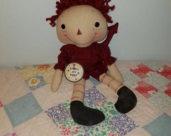 Primitive Raggedy Halloween Devil doll, Halloween decoration cloth doll, Trick or Treat doll, Halloween decor
