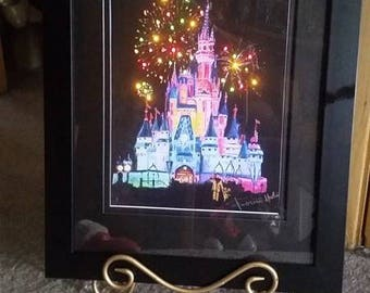 "Lighted ""Wishes"" Magic Kingdom Disney Castle from Original Painting By Roseann Madia"