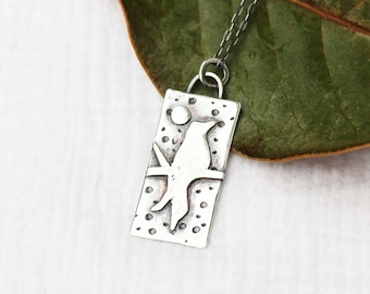 Bird and Night Sky Scene Pendant Necklace, Silver