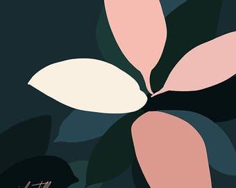 Modern, Minimal Tropical Abstract Plant art by Jules Tillman - Fine Art Canvas Print. Minimal, millennial pink, aqua, deep green. Square art