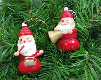 Musical Santa Ornaments, Vintage Hand Painted Wood Santa with Drum & Horn, Kitschy Christmas