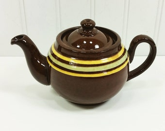 Small A L B Brown Betty Teapot with Tan and Green Stripes, Redware Pot Made in England