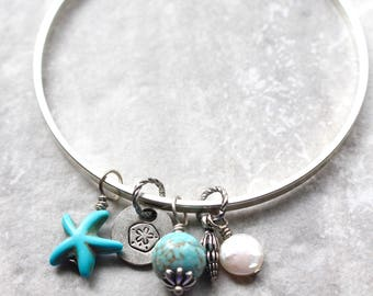 Beach Treasures Bangle, Summer Bangle, Turquoise and Silver Bangle, Starfish and Sand dollar bangle, Beach Bracelet, Ocean Bracelet
