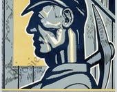 "WPA Poster  ""PENNSYLVANIA Coal Miner"" circa 1930 - Giclee Fine Art Print"