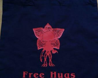 Stranger Things Demogorgon Free Hugs Navy Shopping Tote Bag