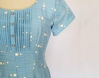 1950s Dress // 50s Dress // 1950s Baby Blue Polka Dot Dress //  Vintage Polka Dot Dress // Vintage 50s Summer Dress // Vintage Size 14