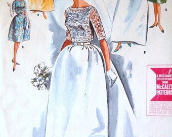 1960s Sewing Pattern Wedding Dress Gown Jackie O Style Bateau Neckline Detachable Train Retro 60s Style Bridesmaid DIY Pattern McCalls 7082
