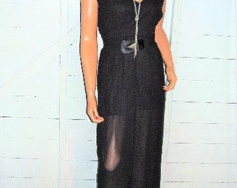 Vintage Black Wide Leg Jumpsuit M
