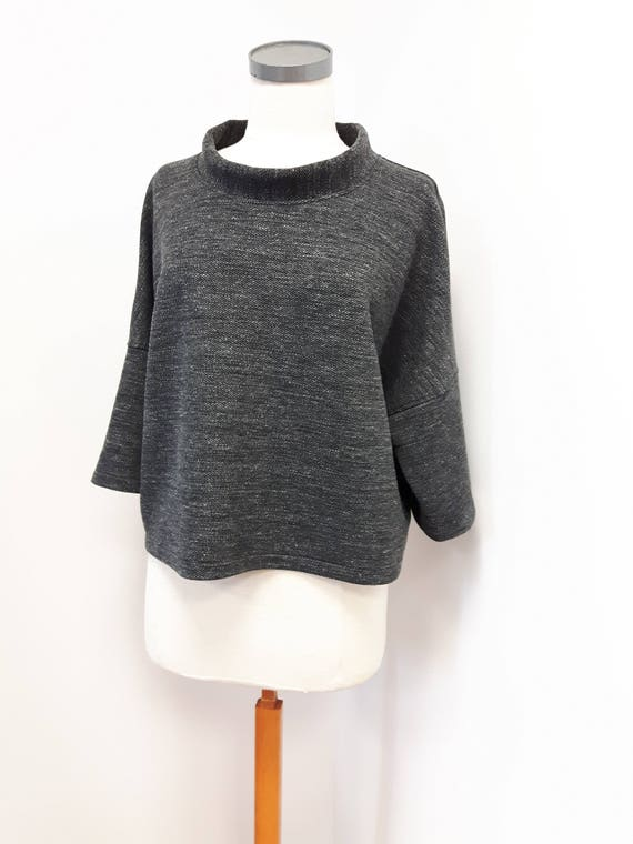 Women clothing, classic style, loose fit top, pure wool, heather gray, tweed, stylish three quarter sleeve, one size