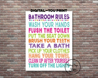 Bathroom Rules, Girls Bathroom Sign, Custom Bathroom Rules, DIGITAL, YOU PRINT,  Kids Bathroom Rules, Girls Bathroom Rules