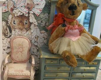 "OOAK Velvet Mini Bear - Thread-Bear  Esther - 5-1/2"" tall Miniature Artist Bear"