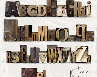 Olde Wood Printer Block Alphabet digital scrapbooking graphics / clipart / altered art / mixed media collage / instant download / printable