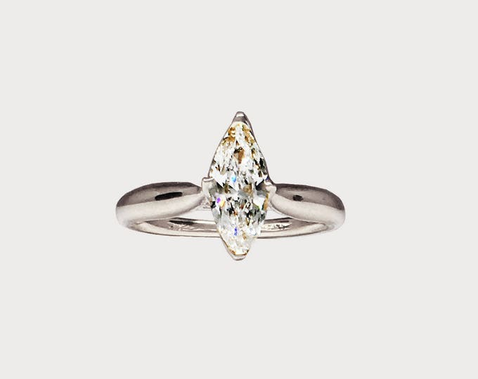 You Are My True North _ 14K White Gold Marquise Harmony Diamond Engagement ring
