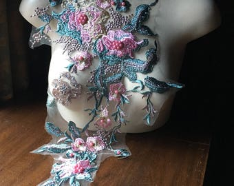 Pink & Green Aqua Lace Applique #1 VERY LONG, Beaded for Couture Gowns, Lyrical or Ballet Costumes F