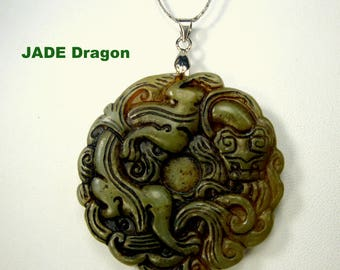 Chinese Jade Carved Pendant on Silver Chain, 1980s,  Traditional Dragon or Salamander, Long Life Symbols, Asian Stone Amulet Necklace