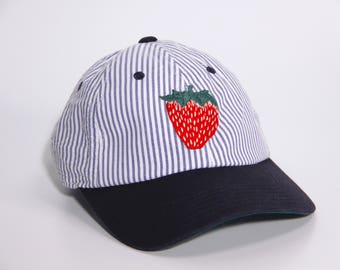 hand embroidered baseball cap strawberry