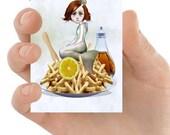 Artist Trading Card | Fantasy Mermaid Art | ACEO Keepsake Card | ATC | Lowbrow pop surreal | An Acquired Taste