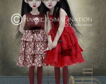 Macabre Art Print - Big Eyes Art - Evil Twins - Wall Decor - A Deliberate Accident