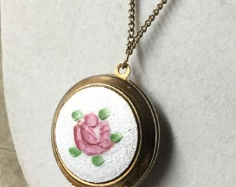 So Sweet Pink Rose White Guilloche Enamel Hand Painted Locket Necklace Unsigned 1950's 1960's Gold Tone Metal Chain Round Holds Photos