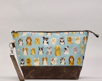 Dogs Dogs Dogs Large Zipper Knitting Project Craft Wedge Bag with Detachable Wrist Strap- READY TO SHIP