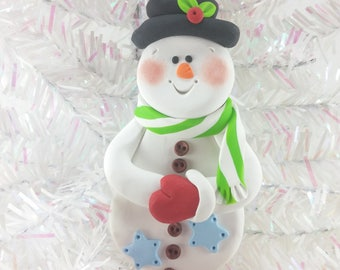 Handmade Polymer Clay Snowman Christmas Ornament - Snowman Collectible - Ornament for Child - First Christmas Ornament -846