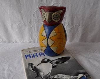 Puffin Lovers Vintage Decor/Puffin Folk Art Statue and Puffin Photographic Book/Puffin Island