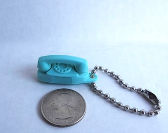 Vintage Princess Phone Charm On Metal Keychain Light Blue Aqua Turquoise Comes In A Black Velvet Drawstring Pouch
