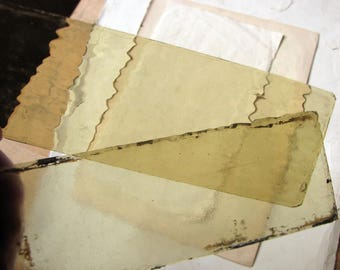 Antique coloured glass sheet - Edwardian ripple glass in amber green - assemblage supplies