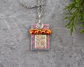 Architectural Dichroic Glass Pendant in Coral Shimmer, Gold, and Black Cherry...