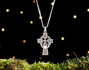 Sterling Silver Irish Celtic Cross with Claddagh - (Pendant or Necklace)
