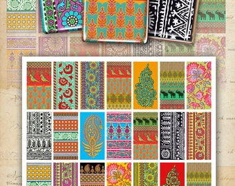 Printable 1x2 inch size images HINDU ORNAMENTS Digital Collage Sheet for domino pendants magnets bezel settings paper craft ArtCult designs