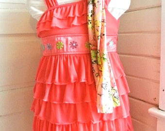 vintage ruffled embroidered girls dress