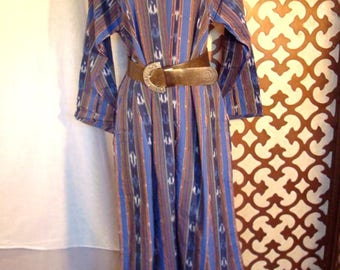 70s IKAT Caftan House dress Deadstock Sz S to Sz M