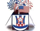 4 juillet, carte, Pop Up cartes, carte patriotique, cadeau de la citoyenneté, partie décor, titulaire de carte-cadeau, fête le 4 juillet, Invite Invitation