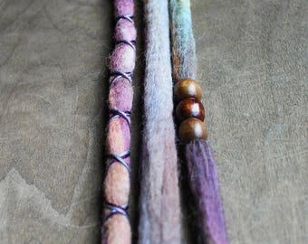 """3 Tie-Dye 13-16"""" (READY to SHIP) Clip-In Wool Dreads Wrapped & Beaded Bohemian Hippie Dreadlocks"""