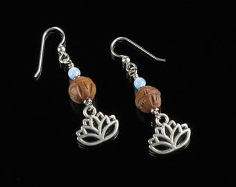 Lotus Earrings, Silver Lotus Dangle Earrings, Boho Earrings, Unique Spiritual Jewelry Buddhist Gift, Yoga Earrings Valentine Gift for Women