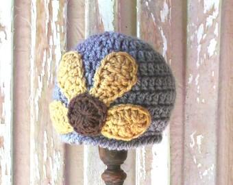 Sunflower Baby Hat, Crochet Sunflower Hat, Fall Baby Hat, Newborn Baby Girl Hat, Baby Flower Hat, Fall Baby Girl Coming Home Hat