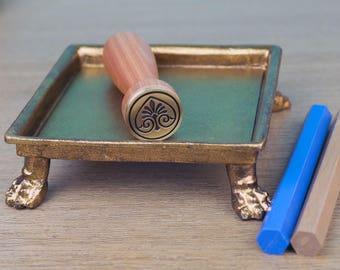 Ornamental Palm Wax Seal Stamp and 2 Wax Sticks