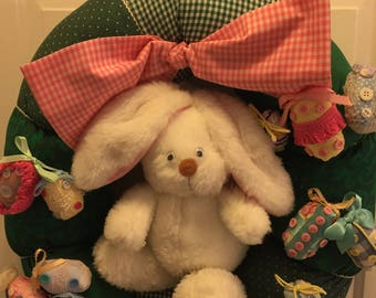 EASTER~BUNNY~cHARACTER~wreath~hANDMADE~eASTER~eGGS~oRIGINAL~wREATH~LARGE~rEADY~tO~hANG~dOOR~wALL~gIFT~