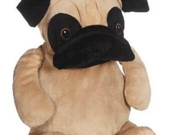 personalized baby gift, personalized plush, stuffed plush, Parker Pug, kids personalized stuffed keepsake, Pug Dog, Embroider Buddy
