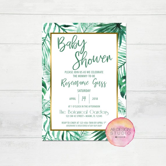 tropical baby shower invitation tropical palm invitation beach