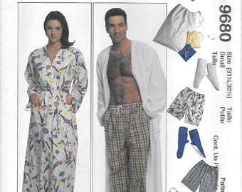 McCalls 9680 UNCUT Mens and Womens Robe Pull On Pants or Shorts Bootees and Pouch Sewing Pattern Small and Medium Sleepwear