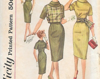 Simplicity 3541 1960s Wiggle Dress Reversible Top and Sash Vintage Sewing Pattern Size 14 Bust 34 Simple to Make