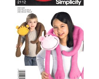 Monkey Neck Pillow Pattern  Kids Travel Pillow Stuffed Toy Animal Simplicity 2112 Plush Toy Sewing Pattern UNCUT