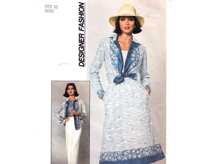 1970s Vintage Halter Top, Shirt, Skirt, Pants Sewing Pattern Simplicity 7923 Women Size 10