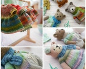 Sock Yarn Pinafores and Cardigans plus free Little Bear Scarf supplement/PDF toy knitting pattern/INSTANT download/ Doll clothes